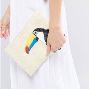ASOS Embroidered Straw Clutch Bag